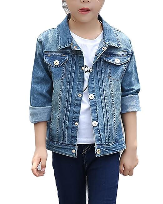 Chaquetas Para Niña Chicas Denim Chaqueta Outwear Vaquero Ropa Mezclilla Denim Jacket: Amazon.es: Ropa y accesorios