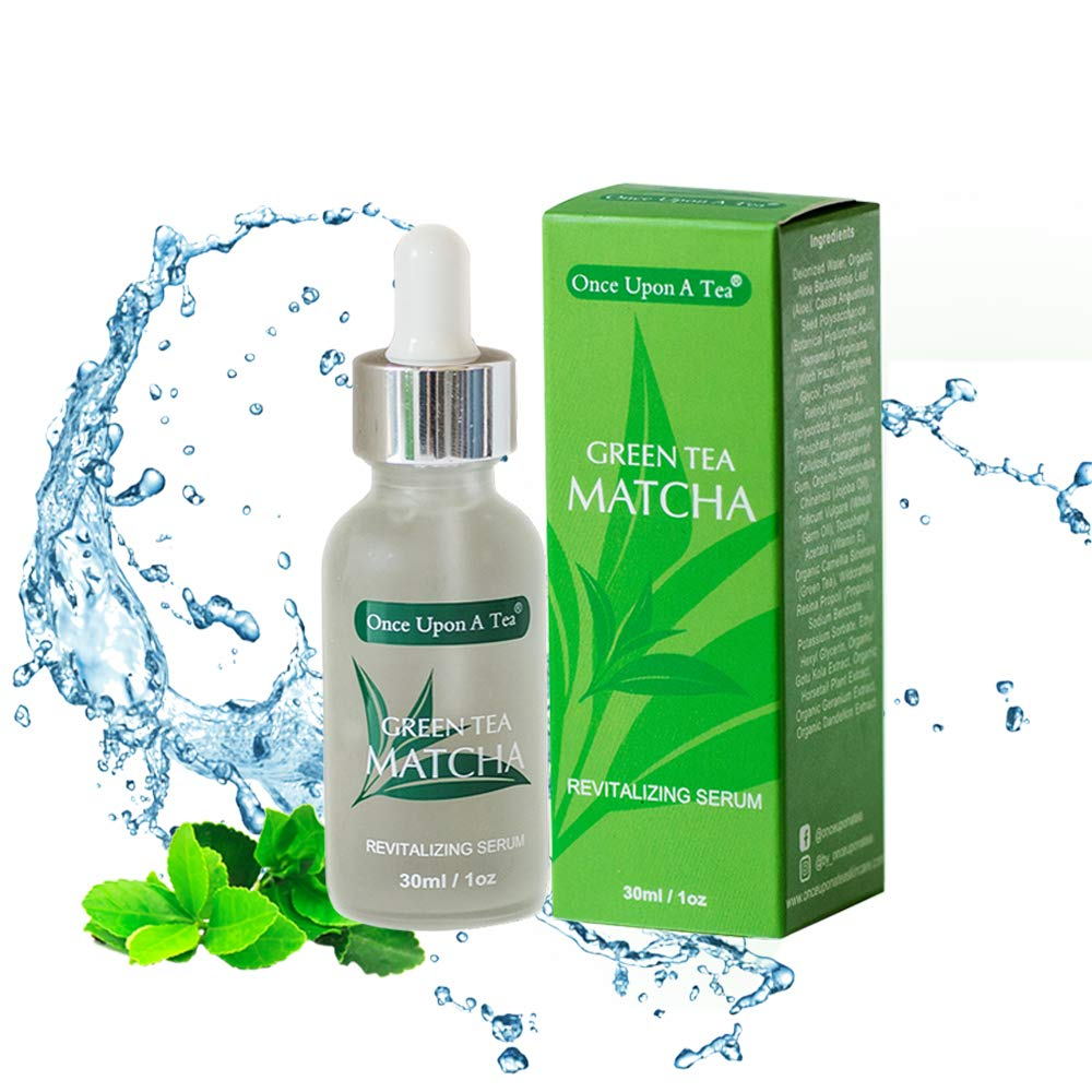 Green Tea Matcha Revitalizing Serum, 92% Organic, Antioxidant Facial Treatment, Smoothes Fine Lines & Wrinkles,Hydrates & Plumps Skin, Removes Dark Spots Face Pigmentation, Best Anti-Aging Moisturizer by Once Upon A Tea