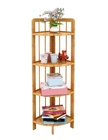 Ufine Bamboo Corner Shelf Bathroom Shower Organizer Storage Display Rack Shelving  Unit Kitchen Living Room Bookcase
