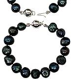 Bracelet pour enfant/demoiselle d'honneur en perles de culture d'eau douce baroques couleur Paon
