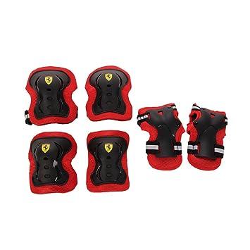 Ferrari FAP3 - Set 3 Protecciones Roller Skateboard Monopatín Patinete(Anti Choques, Resistente a las Rayaduras, Ajuste Fácilmente, Selección ...