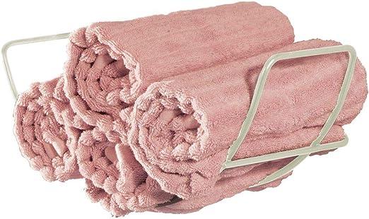 Appendi asciugamani ideale per bagni di ogni dimensione mDesign Porta asciugamani da appendere nero Spazioso portasalviette bagno in metallo con 3 ripiani