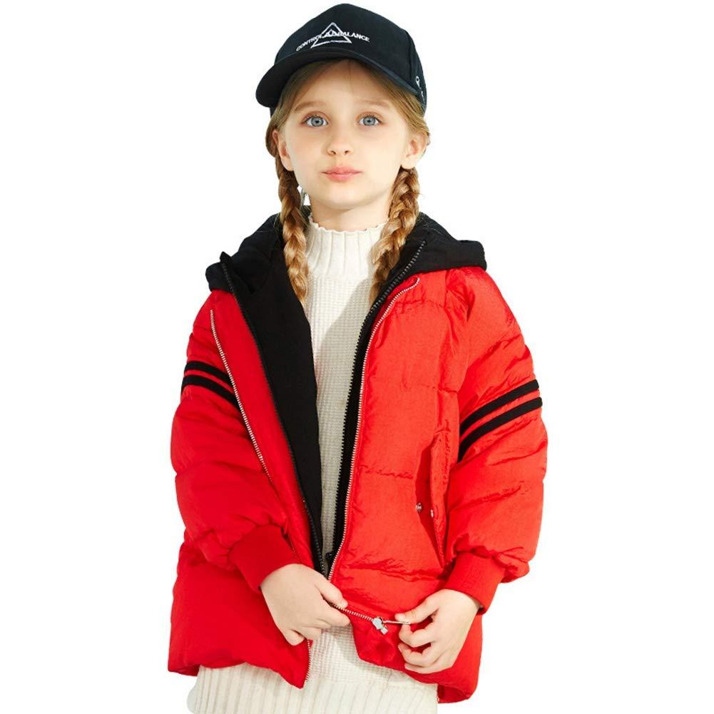 rouge 110cm RSTJ-Sjc Le Manteau Court de Style Simple de Duvet de Canard de Filles vers Le Bas remplissant l'outwear, Manteau d'hiver léger des Enfants idéaux