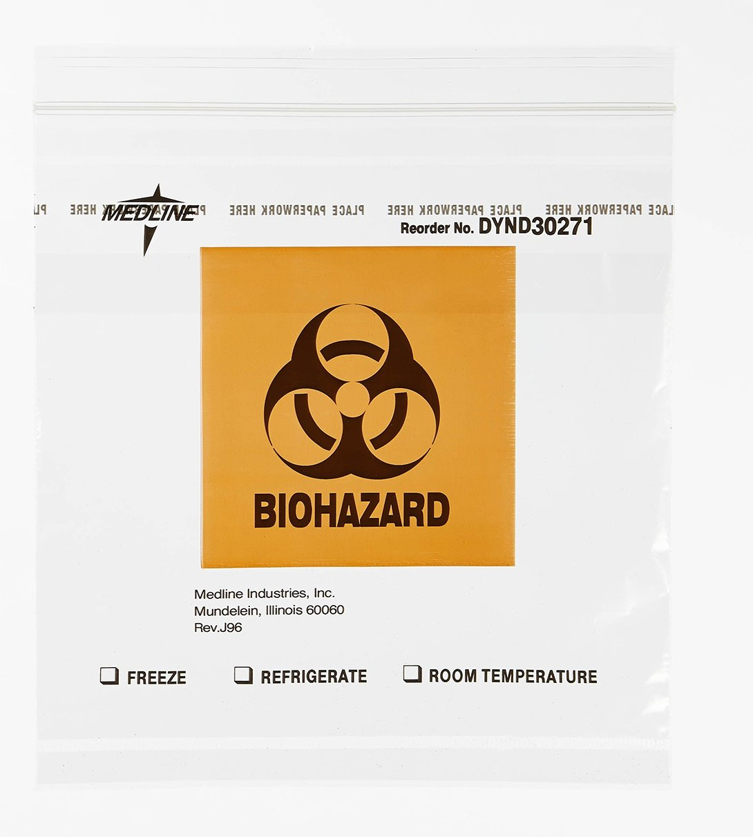Medline DYND30271 Zip-Style Biohazard Specimen Bags, Plastic, Latex Free, 8'' Length, 8'' Width, Clear (Pack of 1000)
