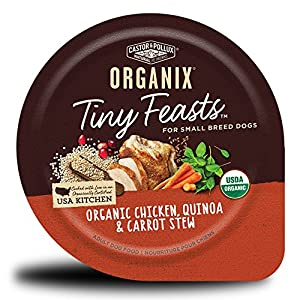 Castor & Pollux Organix Tiny Feasts Organic Chicken, Quinoa and Carrot Stew Wet Dog Food, 3.5 oz, Case of 12