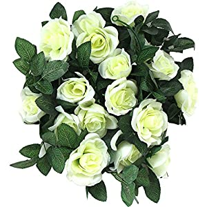Greentime 2 Pcs Fake Flowers Vine 7.8 FT 16 Heads Silk Artificial Roses Garland Plant for Wreath Wedding Party Home Garden Wall Decoration, Cream 3