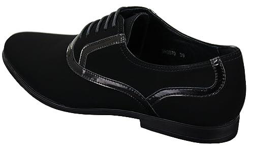 Galax Chaussures Hommes Simili Daim Cuir Verni Brillant Lacets Smart  décontracté Noir  Amazon.fr  Chaussures et Sacs e49a963f45ae
