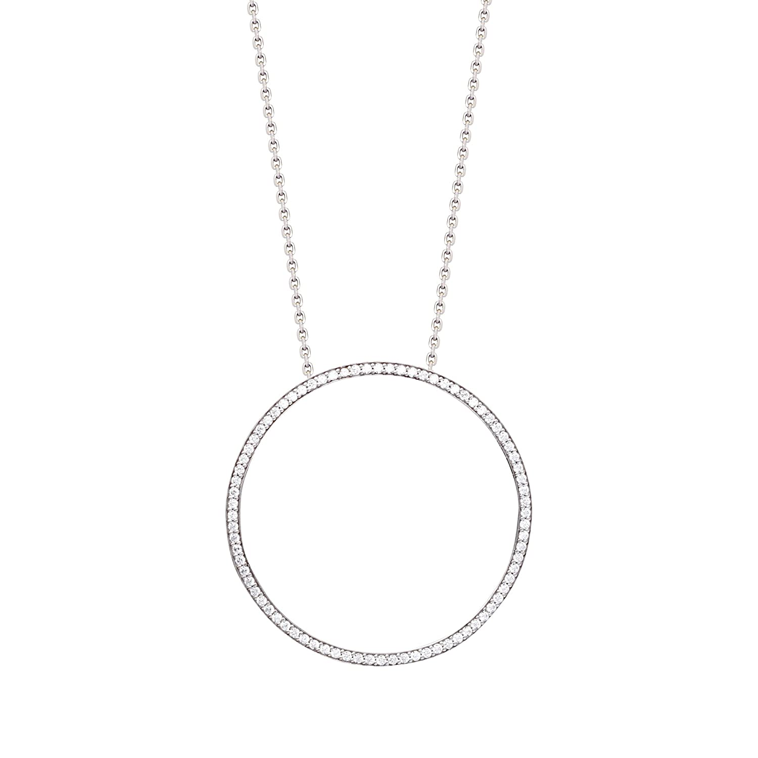 DiamondJewelryNY Silver Pendant Lrg Cz Open Circle Necklace