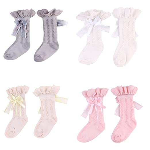 a3b57545b458 Baby Girl Lace Cotton Socks Non Slip Ankle Socks Stocking for Infant  Toddlers (2-