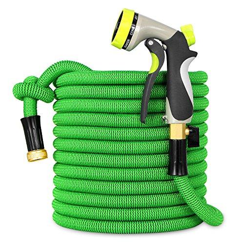 Besiter Expandable Garden Hose,50FT Expanding Garden Hose, Double Latex Core,Improved Strength Fabric Protection,Lightweight Water Hose,Shut Off Valve,8 Function Metal Sprayer