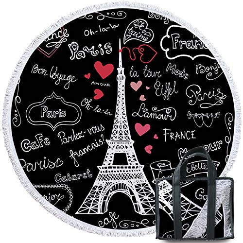 French Beach Towel - Sleepwish Eiffel Tower Beach Towel Beach Towels with Letters Round Bathroom Mat Tablecloths Black and White (French, 60