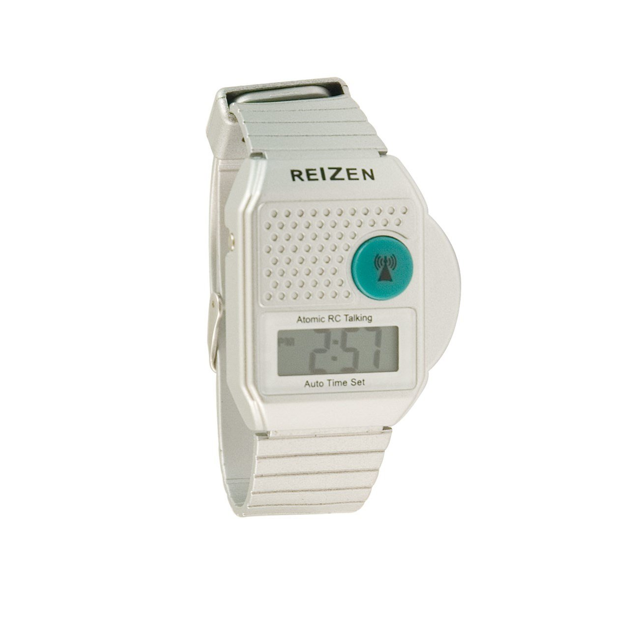 Square Digital Radio Controlled Talking Atomic Watch - Silver by Reizen
