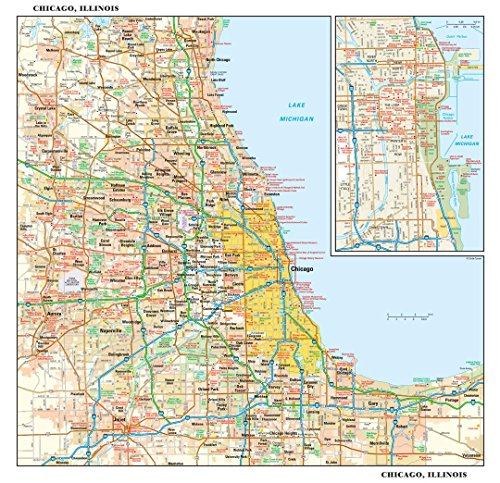 Chicago, Illinois Wall Map - 15