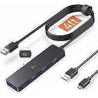 Aceele Hub USB 3.0 con 4 Puertos USB y Micro USB, Ladrón USB Ultrafino de Cable Largo de 1.2m, Compatible con Mac Pro…
