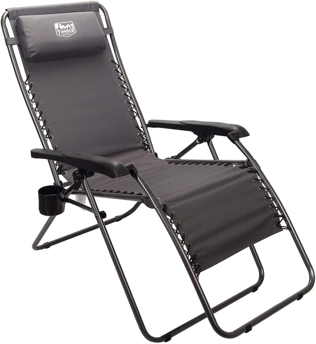Timber Ridge Zero Gravity Chair Locking Lounge Recliner for Outdoor Beach Patio Camping Support 300lbs, Gray