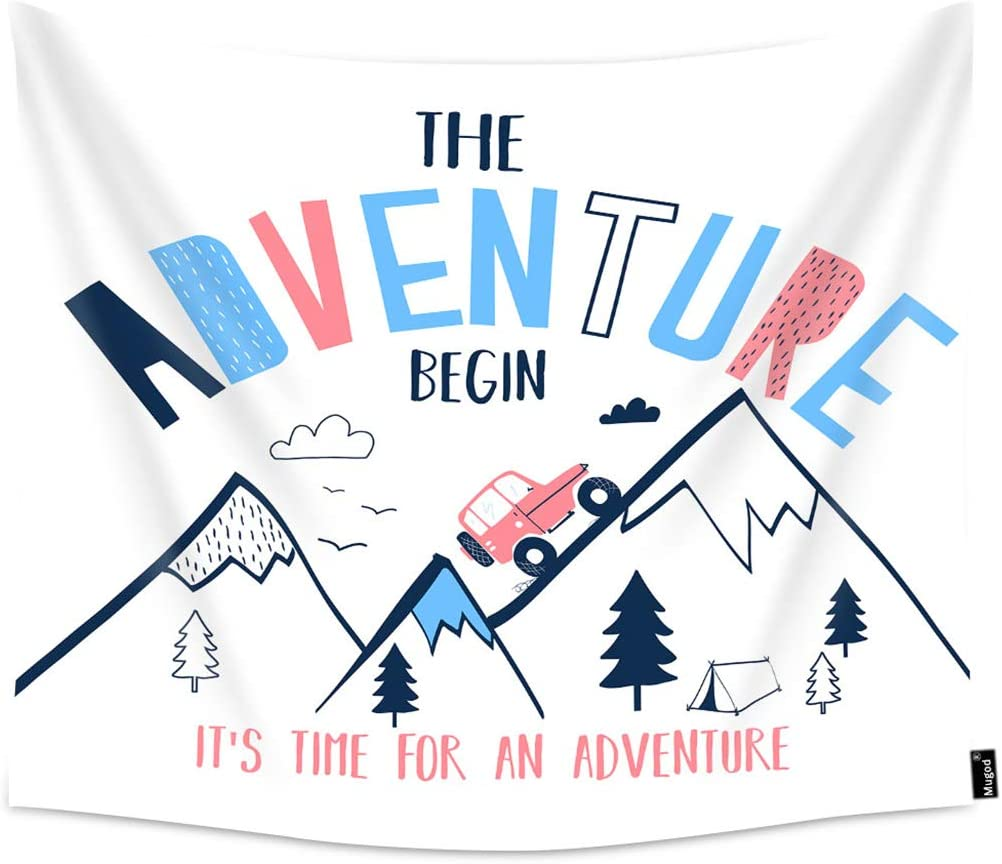 Mugod Adventure Tapestries The Adventure Begin Slogan Mountain Car Explore Nature Wall Hanging Tapestry Decoration for Bedroom Living Room Dorm Polyester 80x60 Inch