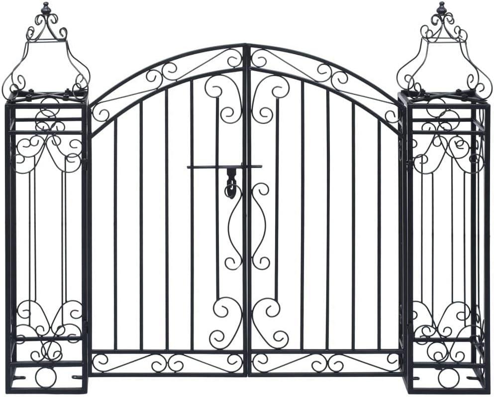 vidaXL Puerta de Jardín Decorativa en Forma de Arcos Entrada Elegante Proteger Espacio Privado Portal para Vallas Patios de Hierro Forjado