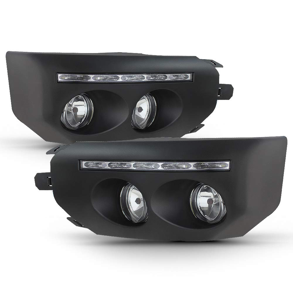 ACANII - For 2007-2014 Toyota Fj Cruiser Black Bumper Fog Lights LED DRL Driving Lamps Assembly Pair Driver & Passenger