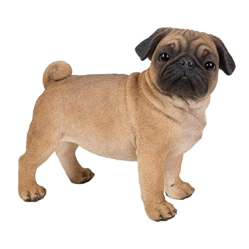 Realistic Life Size Pug Statue Detailed Sculpture Glass Eyes Hand Painted Resin 13 inch Figurine Home Decor Amazing Likeness