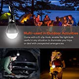 DealBang Compact LED Camping Light Bulbs with Clip Hook (Battery Included), 150 Lumens LED Hanging Tent Light for Camping, Hiking, Backpacking, Fishing, Hurricane, Emergency, Outage (Black,2-Pcs)