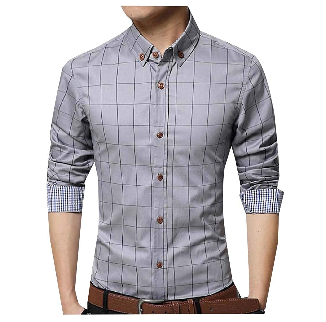 Yingshif Mens Cozy Casual Plus Velvet Tops Woven Grid Button-Down-Shirts