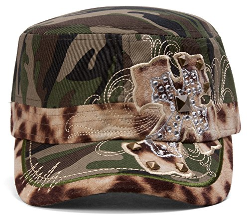 TopHeadwear Animal Print Cross Distressed Cadet Cap - Camo