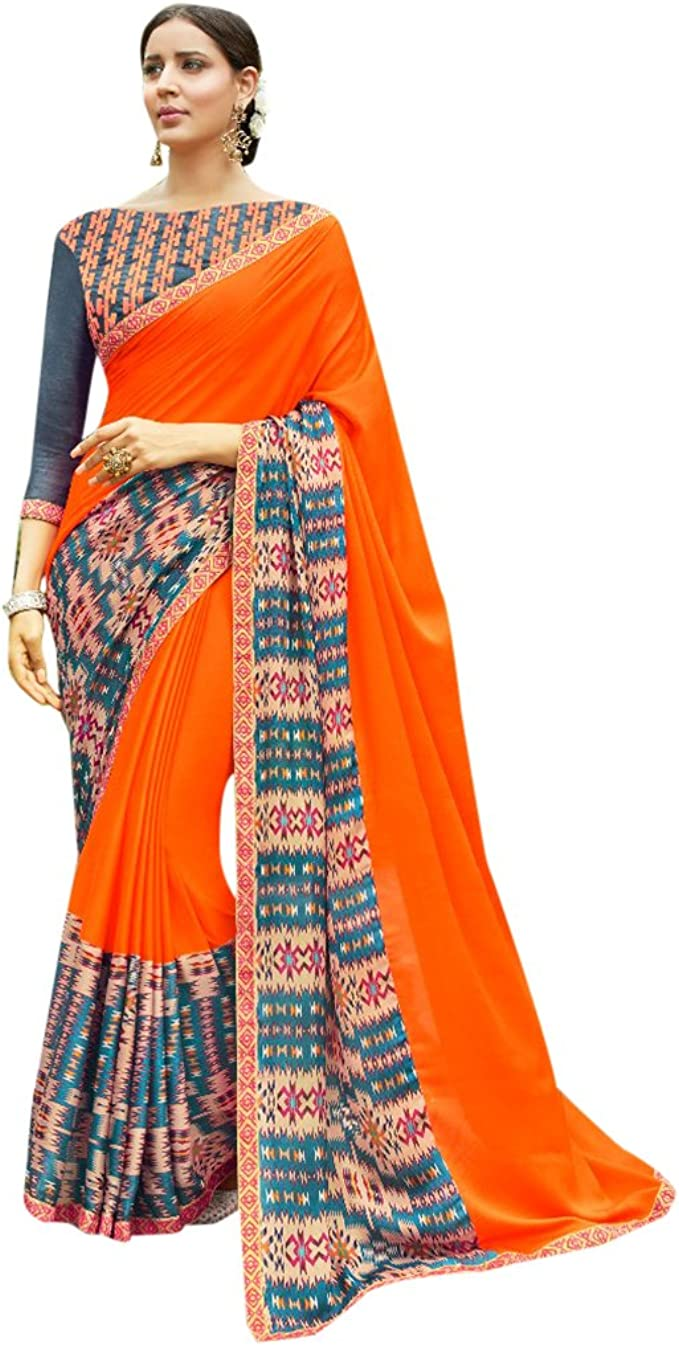 women indian orange printed tunic made with fabric of indian sarees