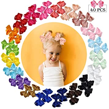 "40 Pcs Baby Girls Kids 3/"" Grosgrain Ribbon Boutique Hair Bows Alligator Clips"