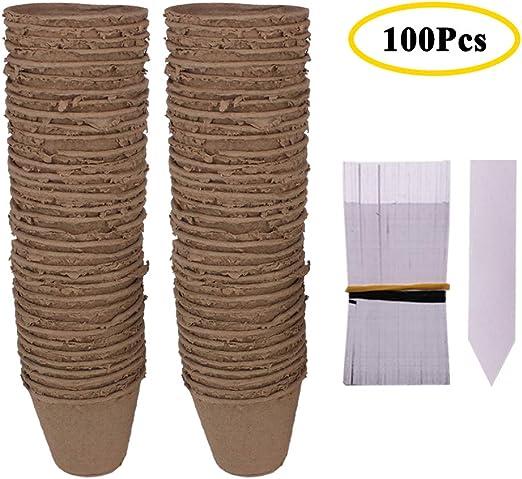 Huvai - Juego de 100 ollas Redondas biodegradables de Fibra con ...