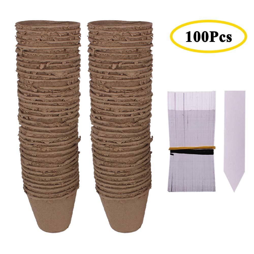 Huvai confezione da 100etichette per piante 8cm rotondo con fibra biodegradabili Seedling da 100pezzi in plastica bianca