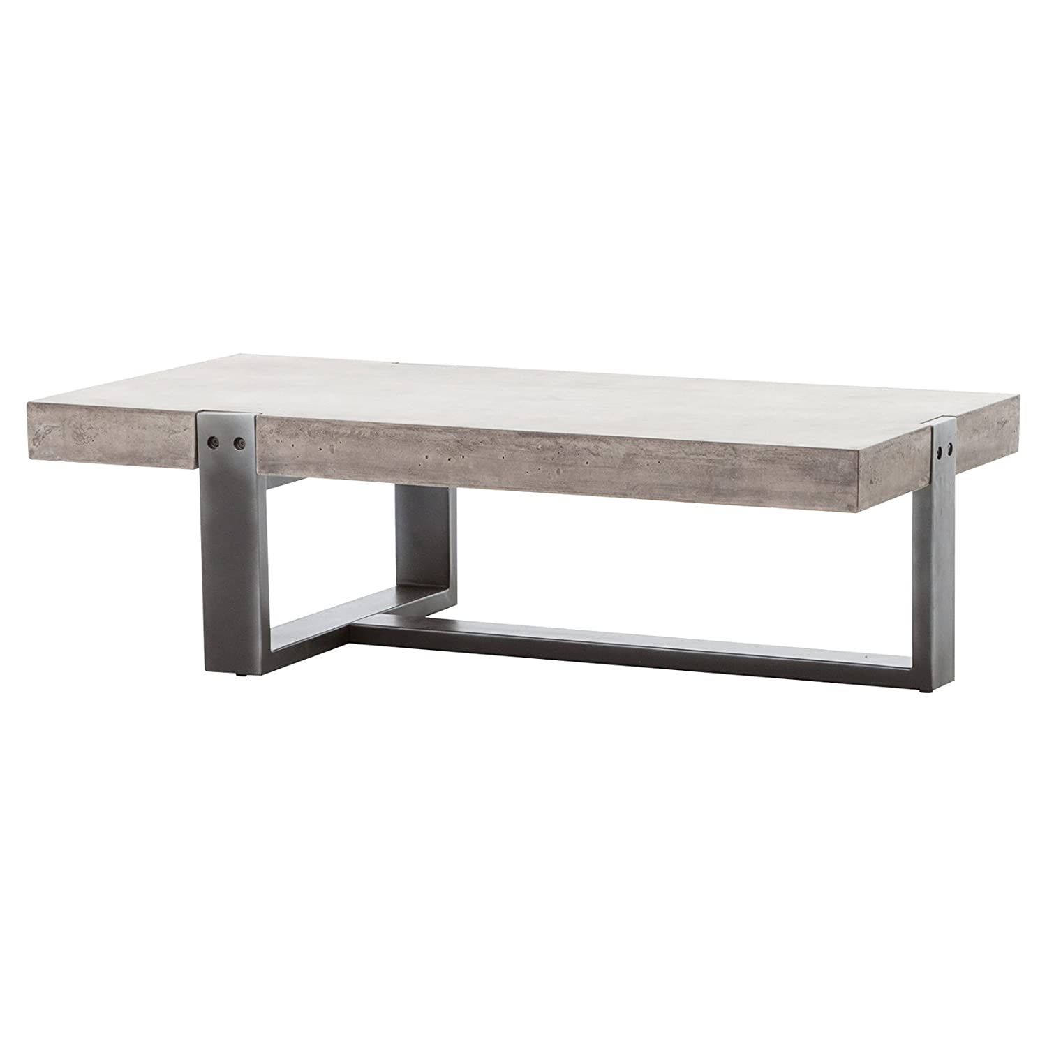Amazon Frantz Loft Modern Grey Metal Concrete Low Coffee Table