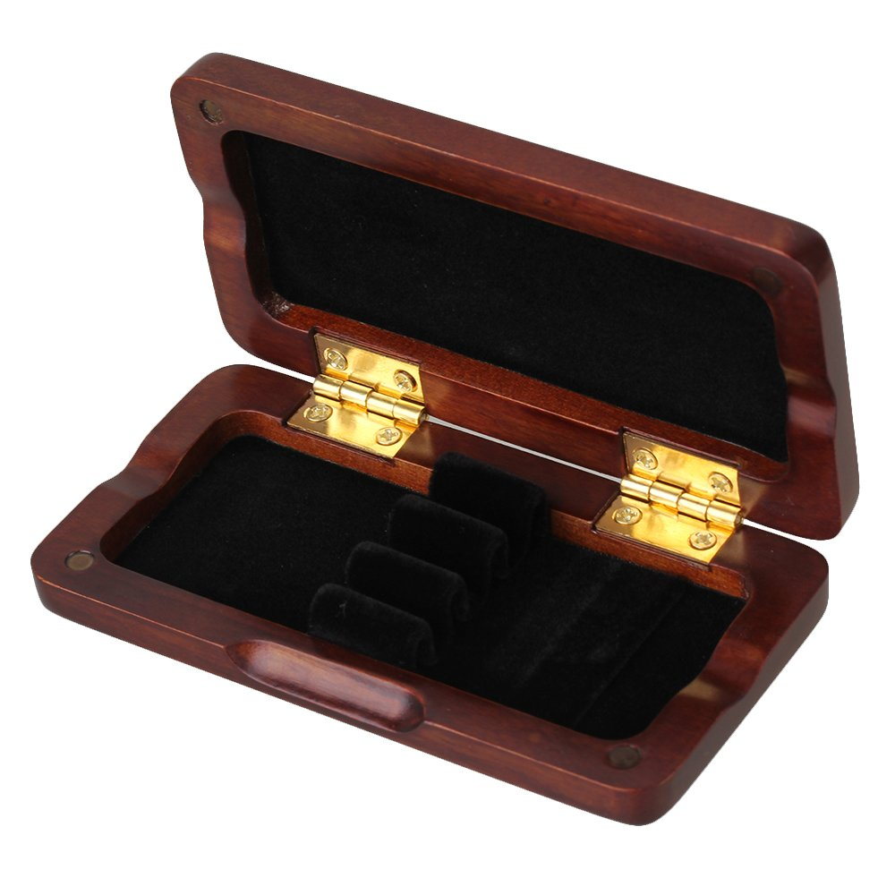 BQLZR Maroon Wooden Oboe Reed Case with Smooth Spray Lacquer Surface for 3pcs Oboe Reeds N03617