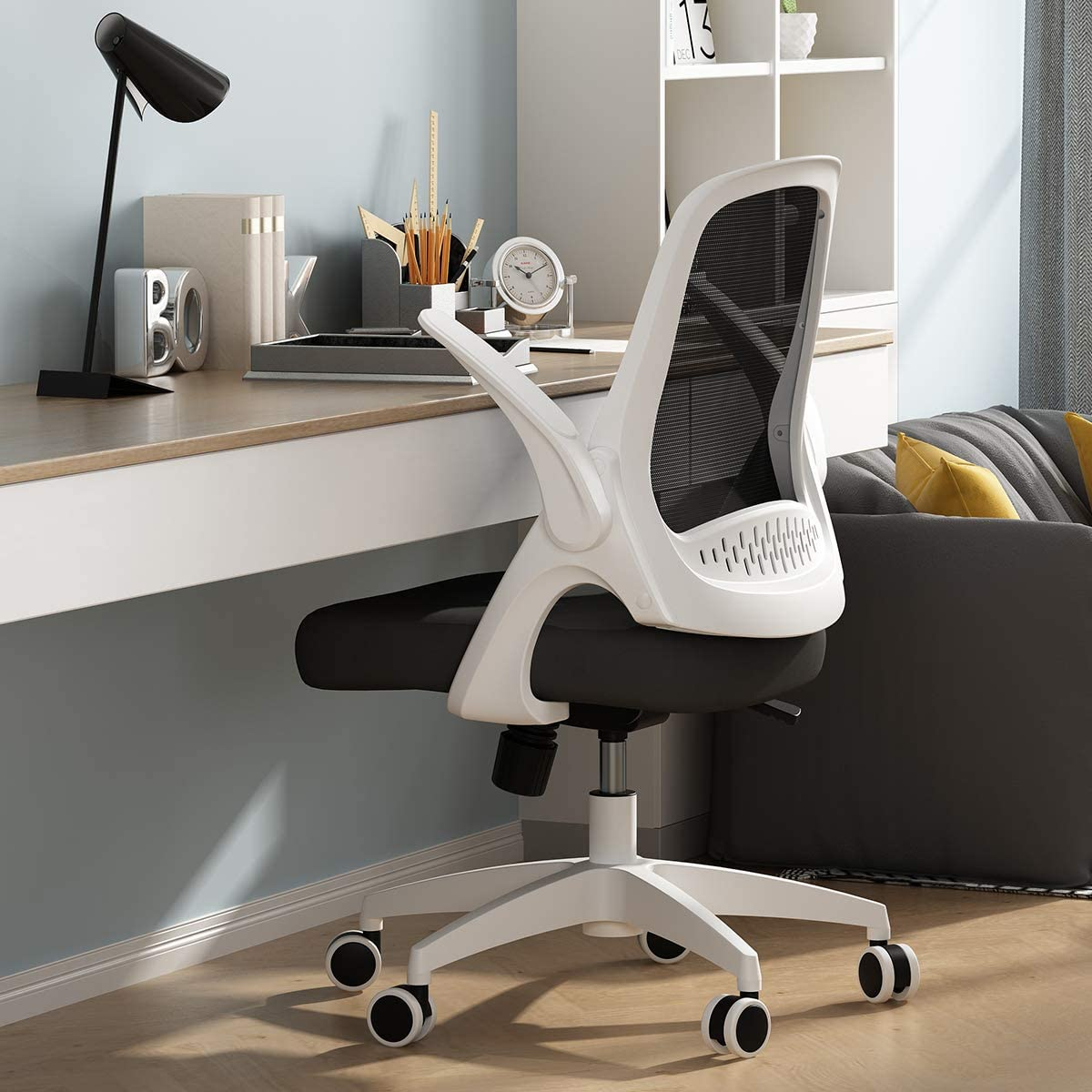 Amazon Com Hbada Office Task Desk Chair Swivel Home Comfort Chairs With Flip Up Arms And Adjustable Height White Kitchen Dining