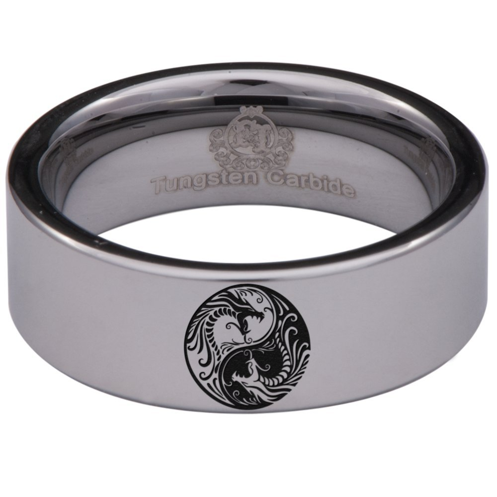 Friends of Irony Tungsten Carbide Yin Yang Dragon Ring 8mm Wedding Band Anniversary Ring for Men and Women