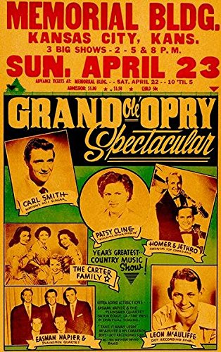 The Carter Family - Patsy Cline - Grand Ole Opry - Kansas City - 1961 - Concert Poster