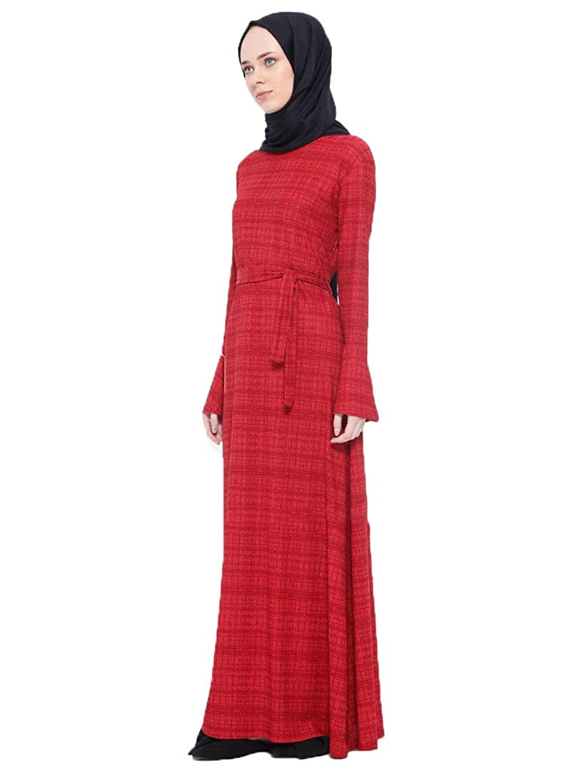 82ce0fd63ce3 Dadali Turkish - Maroon - Multi - Crew Neck - Unlined - Modesty Dress (36)  at Amazon Women's Clothing store:
