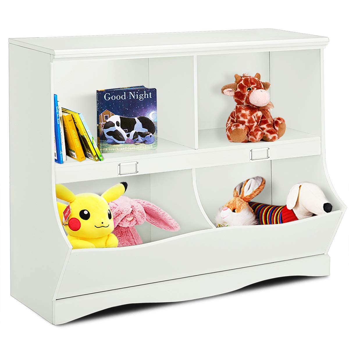 Costzon Multipurpose Toy Storage Organizer, Open Storage Toy Organizing Cubby, Multi-Bin Organizer Wooden Cabinet with Footboard, Nursery Bookshelf for Children Girls & Boys Bedroom Decor Room, White by Costzon