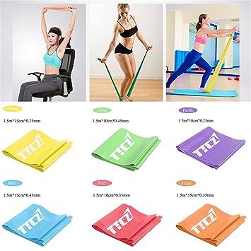 Set de 6 Yoga tensión banda bandas de ejercicio Fitness ...