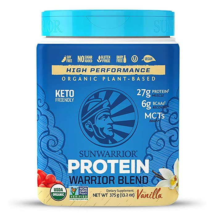 Sunwarrior - Warrior Blend, Plant Based, Raw Vegan Protein Powder with Peas & Hemp, Vanilla, 15 Servings