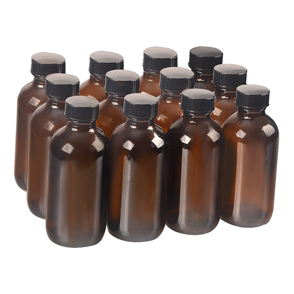 12 pack 4 oz 120 ml Amber Glass Boston Bottle Bottles with Black Phenolic Cone Lined Caps,Perfect Reusable Bottles for Essential Oils,shampoo,Cleaning Products,Aromatherapy.