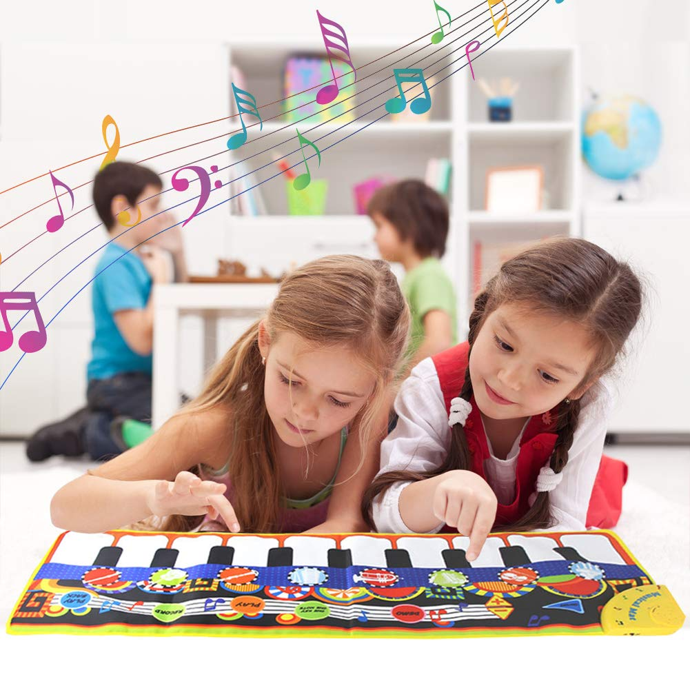 SuperWiner Musical Piano Mat,Kids Early Education Music Blanket,8 Musical Instruments,Demo Songs,19 Keys,Build-in Speaker and Recording Function Electronic Dance Mats(Black and White) by SuperWiner (Image #2)