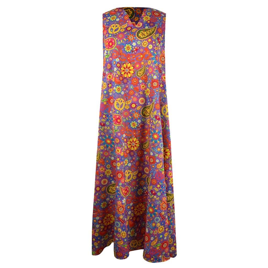 Lomsarsh Dress, Fashion V-Neck Floral Printed Sleeveless Dress with Pocket, Bohemia Vintage Loose Long Dress Summer Casual Dress Sundresses - Plus Size