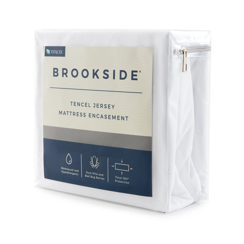 Brookside TENCEL Jersey Encasement Mattress Protector - Repels Liquids, Allergens, Dust Mites, and Bed Bugs - Reinforced Zipper and Seams - Hypoallergenic - 10 Year Warranty - Full