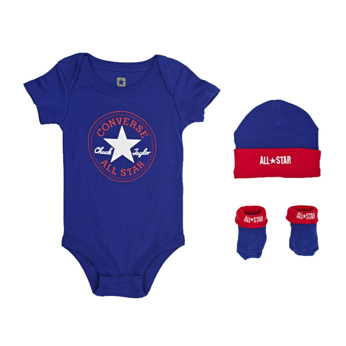 0-6 Monate Converse Babykleidung Set Erstausstattung Baby Geschenkset Body Strampler M/ütze Socken 3er Gift Set Blau Gr