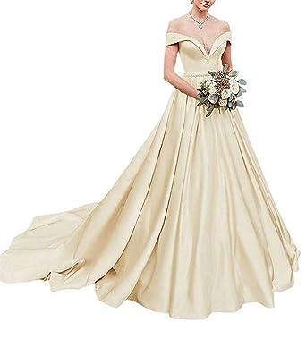 6f3f7a0827d99 HellodayZ Women's Off Shoulder V Neck Satin Wedding Dress Bridal Gowns Long  Champagne US2