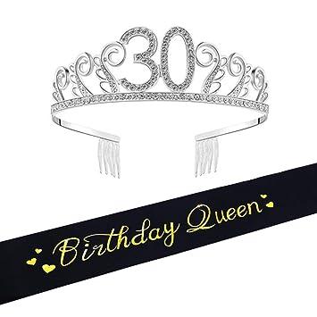 30th Brithday Tiara And SashquotBirthday Queenquot Glitter Satin Sash Quot