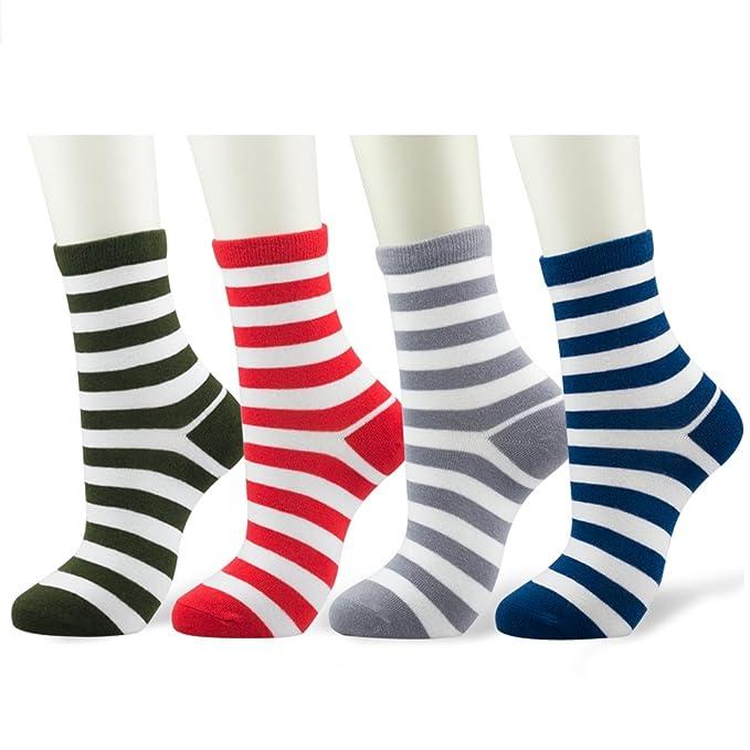 CIZITZZ Fashion Stripe Casual Cotton Crew Socks for Men and Women 4 Pairs