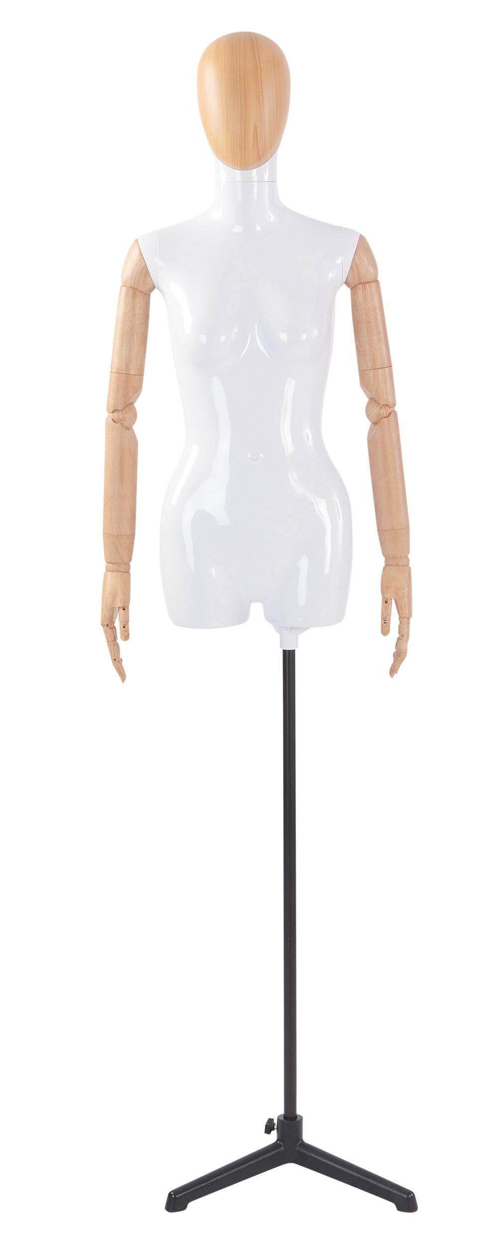 Female Glossy White ¾ Body Mannequin with Wood Egg Head and Wood Posable Arms