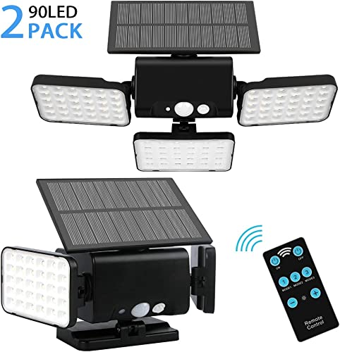 Remote Solar Lights Outdoor,90 LED Adjustable Wireless Motion Sensor Security Solar Night Lighting with 3 Rotatably Heads Remote Control 3 Lighting Modes for Your Porch,Yard, Garden 2 Pack