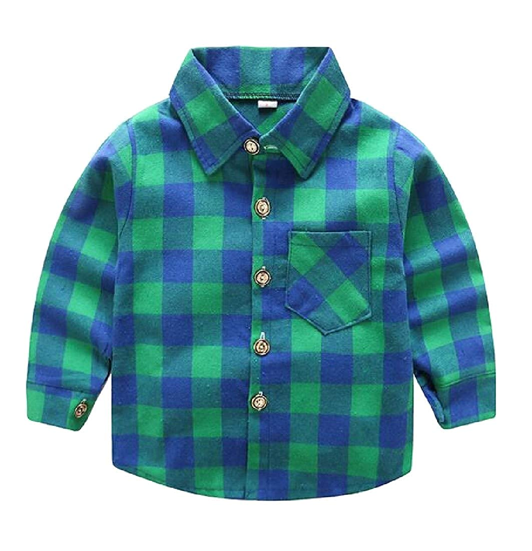 Etecredpow Boys Vogue Button Up Plaid Graphic Long Sleeve Shirts